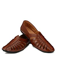 Anshul Fashion Men's Brown Genuine Leather Casual Sandals And Floaters