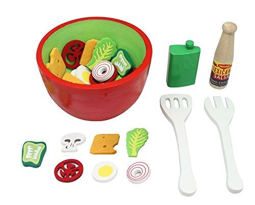 Preisvergleich Produktbild Kinder Salatschüssel mit Olivenöl Salatbesteck Gemüse und Salatdressing aus Holz