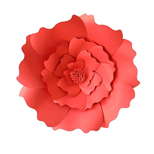 lumen, DIY Handarbeit Papier-Blumen Dekorationen für Wand, Hochzeit/Kinderzimmer Fotografie Blumen Hintergrund Geburtstag, Party, Babyparty und Outdoor-Dekoration rot ()
