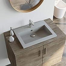 VidaXL Granitbecken Grau Waschbecken Handwaschbecken Waschtisch Aufsatzbecken