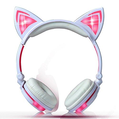 Katze Ohr Kopfhörer mit LED Glowing Blinken,Faltbarer Wiederaufladbare Wired Headset für Mädchen,Kinder, kompatibel für Notebook PC, Smartphone,MP3 (Rosa)