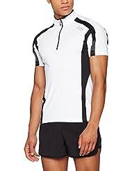 GORE RUNNING WEAR Herren Kurzarm-Laufshirt, Atmungsaktiv, GORE Selected Fabrics, AIR Zip Shirt, Größe M, Weiß/Schwarz, SZIAIR