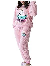 026c0851ef G WELL Damen Schlafanzug Set Einhorn Motiv Flanell Pyjama Zweiteiliger  Langarm Nachtwäsche Winter