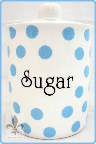 Bleu Clair Pois Sucrier en porcelaine Fine de bébé-Pot à sucre-bleu décoré à la main en forme de U. K.-gratuite
