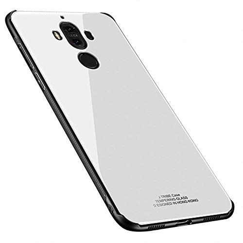 Kepuch Quartz Huawei Mate 9 Hülle - TPU + Gehärtetes Glas Rückseite für Huawei Mate 9 - Weiß