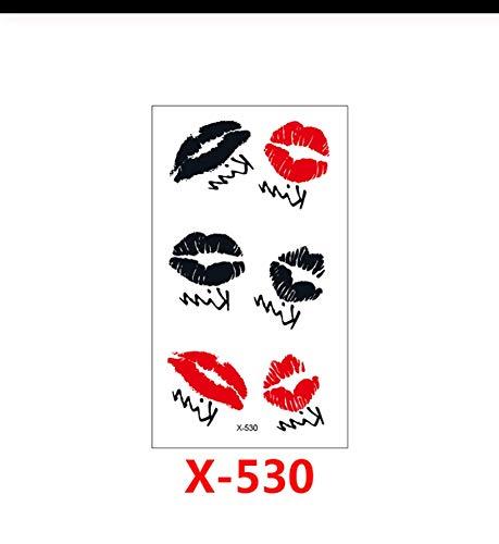 LFVGUIOP Wasserdicht Temporäre Tätowierung Aufkleber lippe Kuss Mund gefälschte Tätowierung Geometrische Tier Flash Tattoo Hand Zurück Fuß fo Mädchen Frauen pcs 3