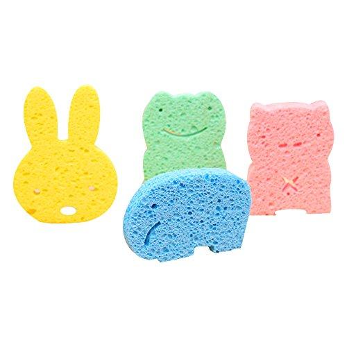 Isuper Esponjas de Baño bebé,Esponjas Natural Suave y cómodo con Forma Animados Cuidado para Piel del bebé y niños(4PCS)
