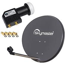 HB Digital 2 Teilnehmer SET - Skymaster SAT Anlage 60cm Spiegel Schüssel Anthrazit + Twin LNB zum Empfang von DVB-S/S2 Full HD 3D Ultra HD (UHD) Signale auf bis zu 2 Receiver + 4 Stecker Gratis dazu im SET