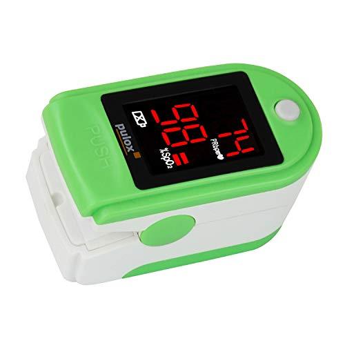 Pulsoximeter PULOX PO-100 grün zur Messung der Sauerstoffsättigung im Blut und des Puls mit LED-Anzeige und Zubehör