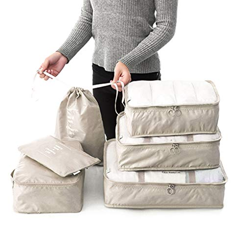 Kineca 6 Stück Set Reisetaschen Wasserdichte Kleidung Verpackung Würfel Gepäck Organizer Tasche Kofferraum Unterwäsche BH Tasche Koffer Koffer Heimschrank Container Beige -