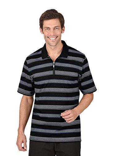 Trigema Herren Ringel-Poloshirt mit Reißverschluss Schwarz