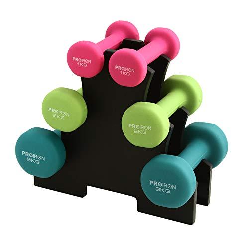 PROIRON Hantel Gesetzt Hanteln Set Gewichte Set mit Ständer (1kg+2kg+3kg) (2er Set)