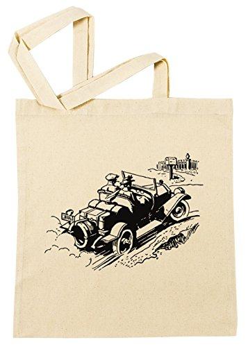 Erido Antiquität Auto Karikatur Illustration Einkaufstasche Wiederverwendbar Strand Baumwoll Shopping Bag Beach Reusable