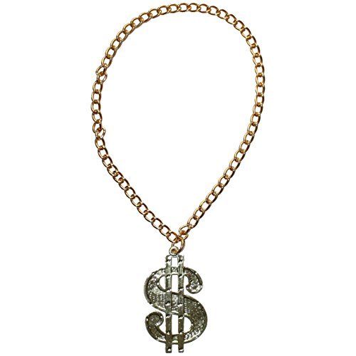 Spassprofi Dollar Medaillon mit Kette für Big Daddy, Gangsta Rapper, Kostüme zum Protzen (Big Dollar Daddy Kostüm)