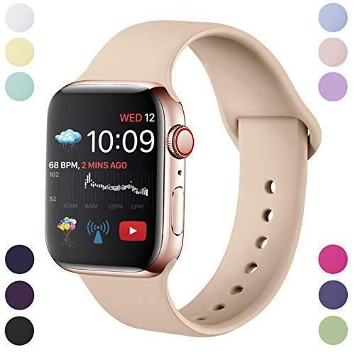 Hamile Correa Compatible con Apple Watch 38mm 40mm, Correa de Repuesto de Silicona Suave para Apple Watch Series 4/3/2/3, S/M,Nuez