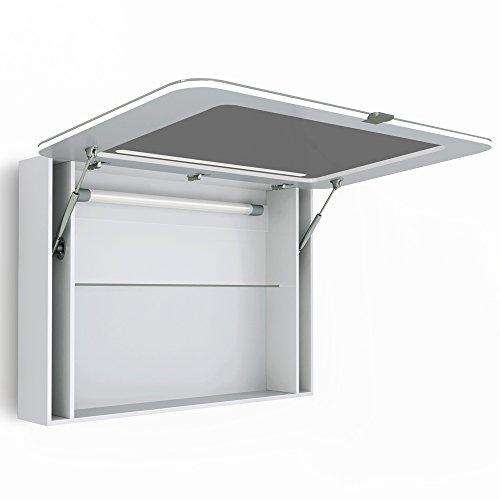 Spiegelschrank LED Weiß Hochglanz Badschrank Badspiegel Spiegel (90cm) - 4