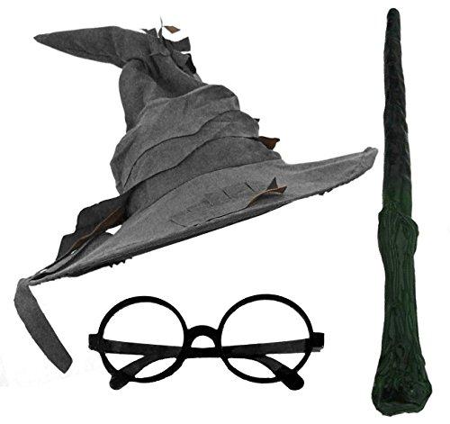 ASSISTENT HUT, BRILLE UND ZWEIG-ZAUBERSTAB FANCY DRESS ACCESSORIES ERWACHSENE BUCHWOCHE (Potter Kostüm-assistent Harry)