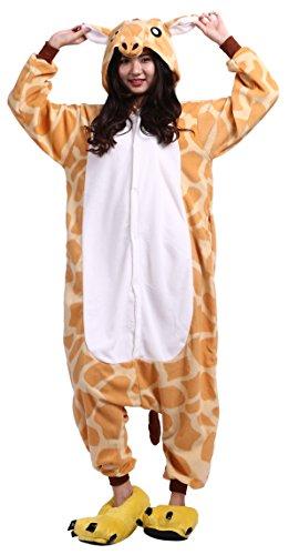 (CuteOn Unisex Erwachsene Cartoon Tier Kigurumi Pyjamas Nachtwäsche Mit Kapuze Cosplay Kostüm Giraffe M for Höhe 156-167CM)