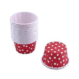 100er Backen Tassen Mini Papier Kuchen Cupcake Wrappers Fällen Halter für Muffin Cups Liner Cupcake Papier Backen Farbe für Halloween Hochzeit Geburtstag Party Dekoration Allerheiligen(Red)