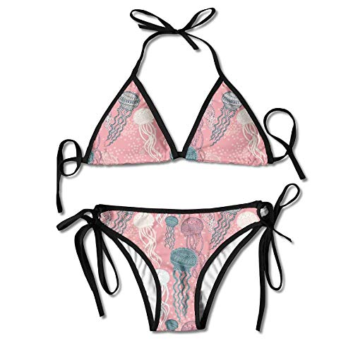 bb6a9ce1012 Women's Sexy Bikini Set Abstract Graphically Jellyfish Custom Tie 2 Piece  Bikini Suits Pushed Up Bathing Swimwear