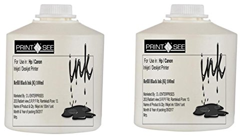 PRINTNSEE HP GT 5810/5820 / CANON PIXMA Black Refill Ink (100Ml) Pack Of 2 For Refilling Hp 21/802/803/27/678/703/818 / Canon 810/ 740/ CANON PIXMA / GT5810/GT5820 Black Cartridges. By : PRINTNSEE Inks (Pack Of 2).EXCELLENT PHOTO QUALITY.  available at amazon for Rs.224