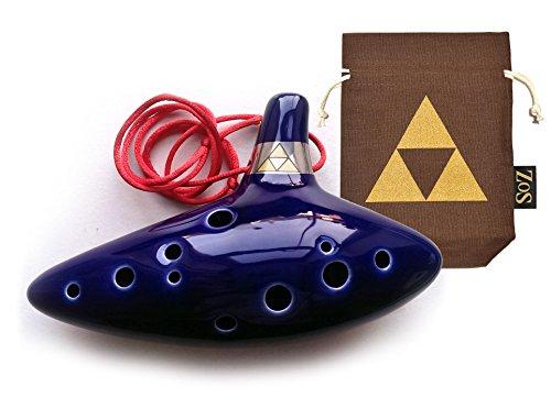 Legend of Zelda Ocarina 12 - Loch Okarina Flöte mit limitierte Auflage Okarina Tasche und zelda ocarina Liederbuch (Brown)