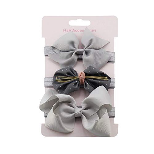 ows Blume Stirnband Baby Kids Elastic Bow Hairband Haarschmuck Headwear (Grau 3) ()