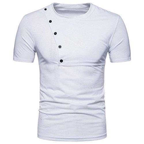 Dasongff Mode Männer Freizeit T Shirt Rundhals Kurzarm Sweatshirt Slim T-Shirt Top Bluse Persönlichkeit Herren Einfarbige T-Shirts (M, Weiß)