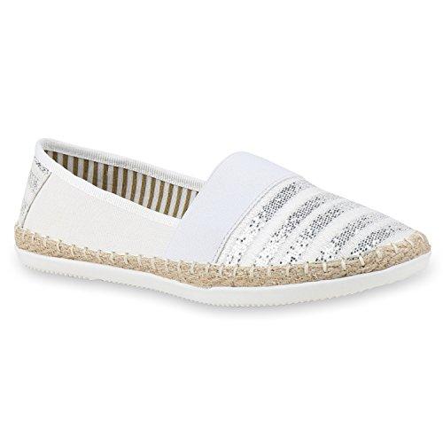 Bequeme Damen Espadrilles Bast Slipper Metallic Glitzer Flats Freizeit Sommer Schuhe 133157 Weiß White 39 Flandell (Espadrille Damen)