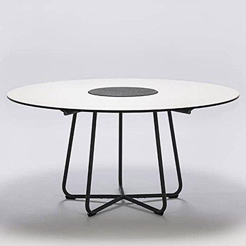 MDS Table Ronde Circle, Bambou et Granit, Acier, Outdoor - Ø 150 cm, HPL Blanc (laminé Haute Pression) et Granit au Centre