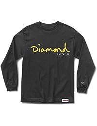 53f7154a Diamond Supply Co OG Script Long Sleeve T-Shirt Black Yellow