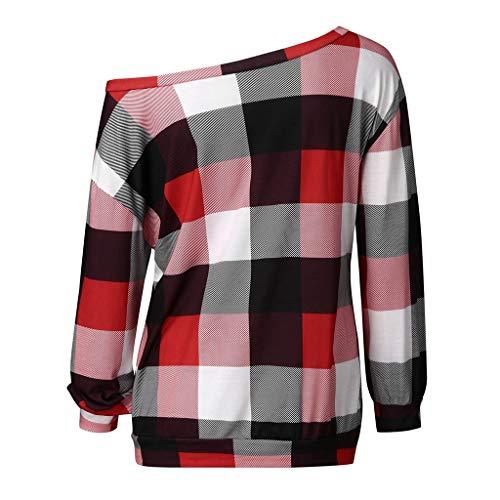 Xmiral Bluse Damen Sweatshirts Kariertes Rundhals Langärmliges Schulterfrei Pullover Tops Langarm Slim Fit Patchwork Übergröße T-Shirt(Rot,4XL)