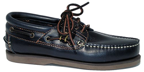 Blueport Klassik Comfort Navy - Klassischer Bootsschuh in blau, Größe:43 EU (Leder Bootsschuh Navy)