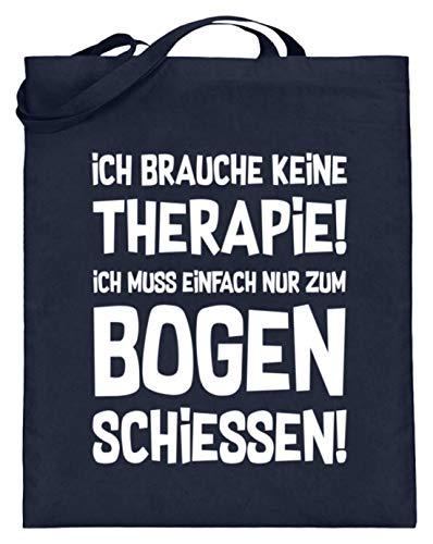 shirt-o-magic Archery: Therapie? Bogenschießen! - Jutebeutel (mit langen Henkeln) -38cm-42cm-Deep Blue