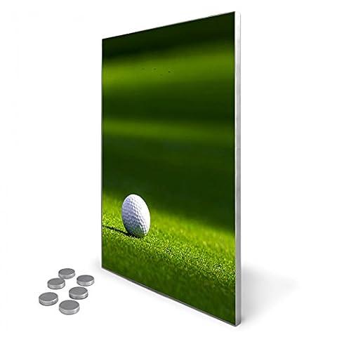 Edelstahl Magnettafel 35x50 cm inkl. 6 Magneten, Design Magnetwand für Küche und Büro, banjado Memoboard, beschreibbare Pinnwand mit Motiv Einsamer Golfball