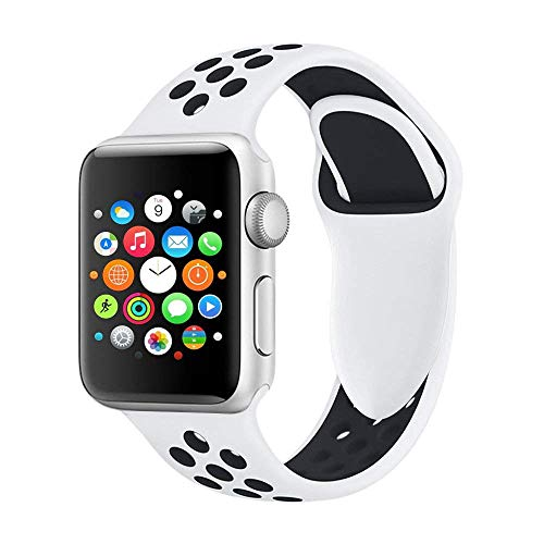 VODKER Apple Watch Correa, Silicona Suave Reemplazo Sport Banda para 38mm 42mm iWatch Serie 3/Serie 2/Serie 1, Nike+, Sport, Edition - Blanco/Negro 42mm-S/M