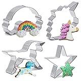 Testa di unicorno Unicorn formine per biscotti in acciaio INOX, 4pezzi, Unicorn, arcobaleno e Star set per biscotti per bambini da Iindes