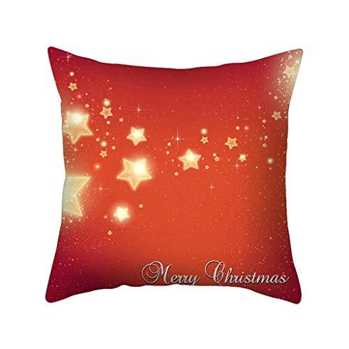Rot Weihnachten Dekokissen Weihnachten Kissenbezüge Dekorative, Weihnachtsmann Sofakissenbezug Kissen Zierkissenbezüge, Schneemann Kissenbezug Leinen Kissenhüllen für Zuhause Sofa 45 X 45cm (B)