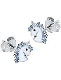Sterling Silver Unicorn Earrings - Silver Glitter