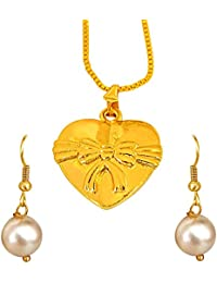 Surat Diamonds Heart & Bow Shaped Gold Plated Pendant And Shell Pearl Earring Set For Girls With 22 IN Chain (...