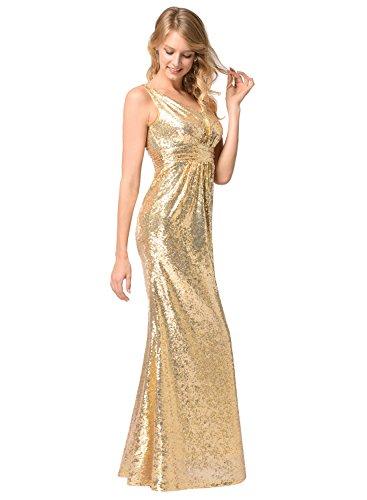 Frauen V-Ausschnitt Warp Kleid Night Out Kleid Partei lange Pailletten Kleid Gold M - 4