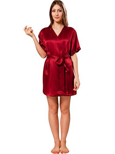 ElleSilk Damen Seiden-Kimono Kurz, Seiden-Robe mit V Ausschnitt, Natürlich Hypoallergen, Weinrot, M - Roben Für Kurze Seide Frauen Kimono