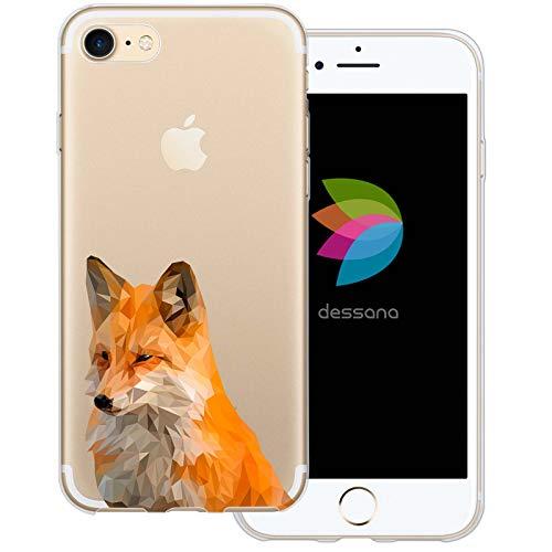 dessana Comic Füchse Transparente Schutzhülle Handy Case Cover Tasche für Apple iPhone 7 Polygonal Fuchs