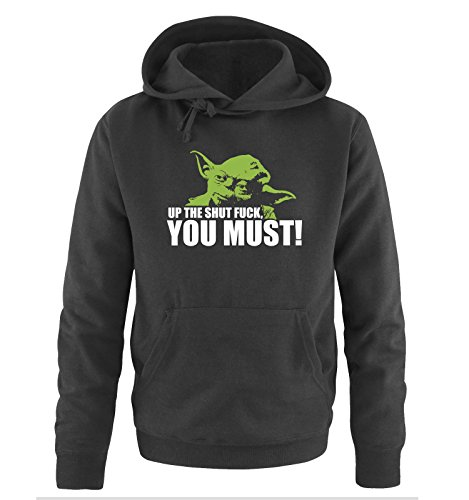 R2 - YODA - UP THE SHUT FUCK YOU MUST - Herren Hoodie Schwarz Gr. (Hoodie Yoda)