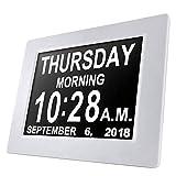 WXQP 8 '' Alarm Demenza Orologio, Opzioni Auto-Dim, Display Grande Orologio Digitale Day Clock per Visione alterata Anziani Memory Loss Nero
