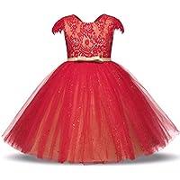 KOKQSX-Girls'dresses Flor niñas Vestidos de Novia de Encaje Vestidos de Noche Faldas para niñas Gourl 140cm