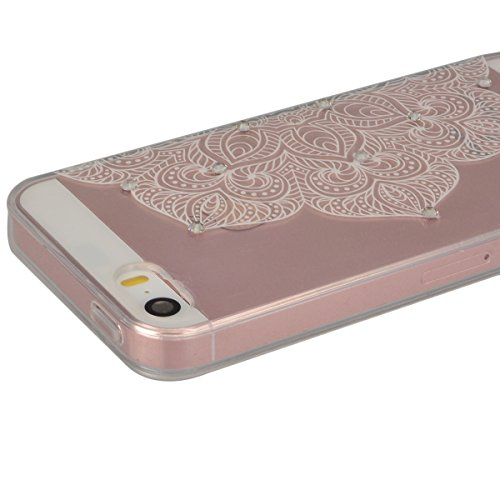 GrandEver Coque iPhone 5 / 5s / SE Transparente Rigide Silicone Souple 3D Diamant Bling Glitter Doux avec Fleur Motif Design Case Cover Etui Housse pour iPhone 5 iPhone 5s iPhone SE --- A A
