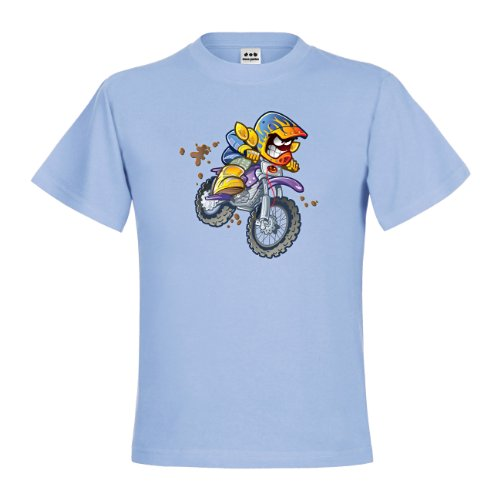 dress-puntos Kids Kinder T-Shirt BMX Dirt Bike Rider drpt-kt01020-13 Textil skyblue / Motiv farbig Gr. 122/128