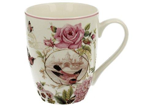 Kaffeebecher Kaffeetasse Tasse groß weiß Motiv Blumen Porzellan Teetasse große Geschenktasse Rosentasse Trinkbecher Becher Mug Cup 320 ml von DUO Set mit Geschenk Box (Love)