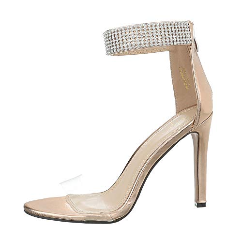 Ital-Design Damenschuhe Sandalen & Sandaletten High Heel Sandaletten Synthetik Gold Gr. 38 Gold High Heel Sandaletten